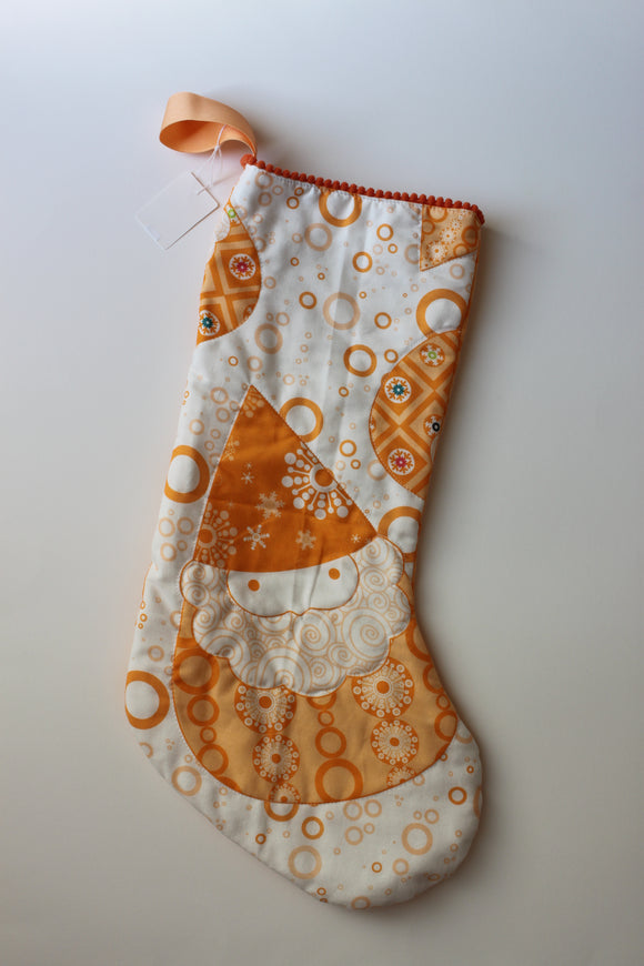 Whimsical Orange Santa Gnome Quilted Christmas Stocking with Mini Pom-Pom Trim