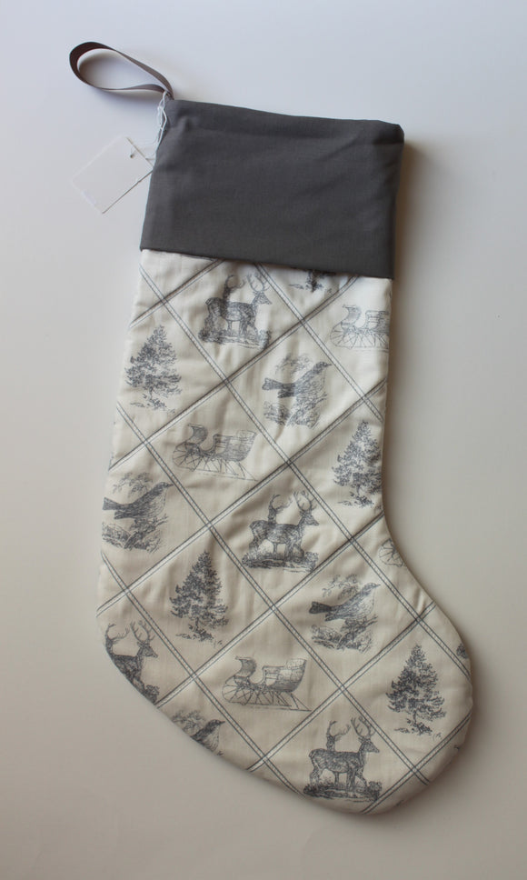 Classic Traditional Quilted Christmas Stocking in Grey and White