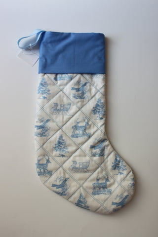 Classic Traditional Quilted Christmas Stocking in Blue and White