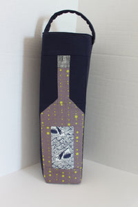 Wine Tote Bag with Shark Label made with a wine bottle quilt block