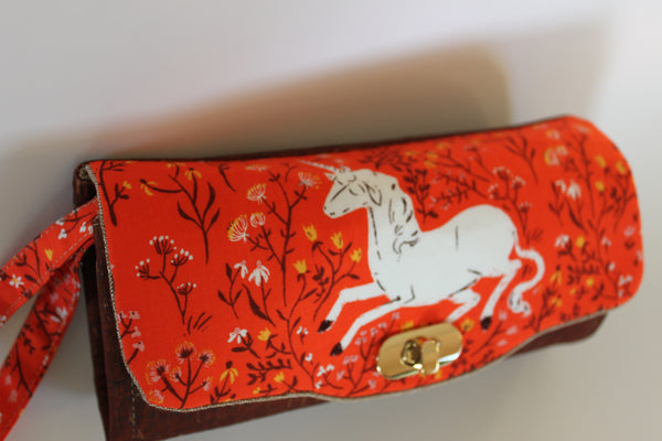 Unicorn and Cork Handmade Clutch Wallet