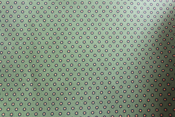 Green Fat Quarter Circled Dot Three Cats Shweshwe fabric printed in South Africa
