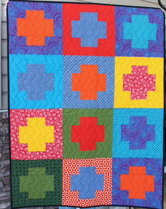 South African Shweshwe fabric Baby Quilt or Small Lap Quilt