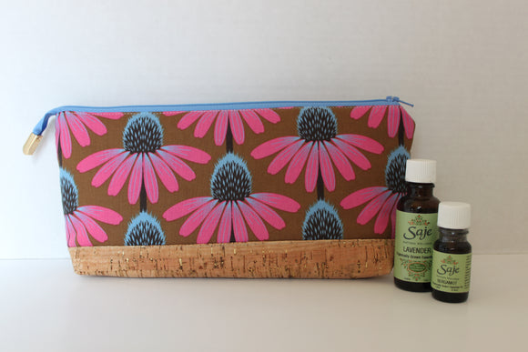 Pink Cone Flower Perfect Essential Oil Zipper Pouch with Blue lining