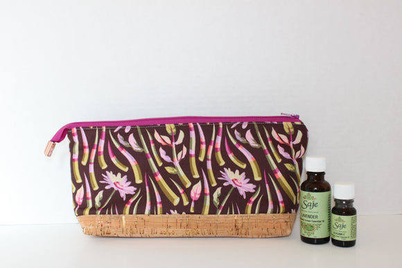 Purple Floral Tula Pink Perfect Essential Oil Zipper Pouch with rose gold zipper end