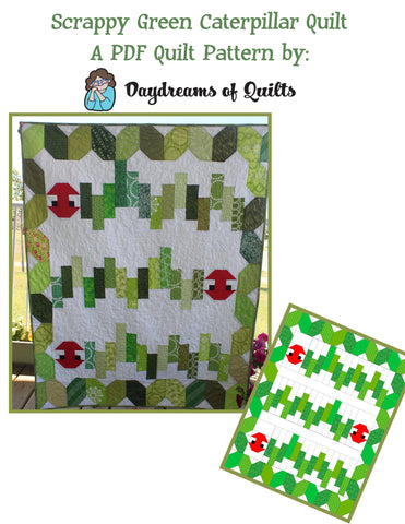 Scrappy Green Caterpillar PDF Baby Quilt Pattern