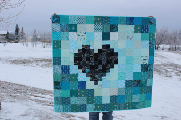 Pixel Heart in a Pixel Heart PDF Quilt Pattern
