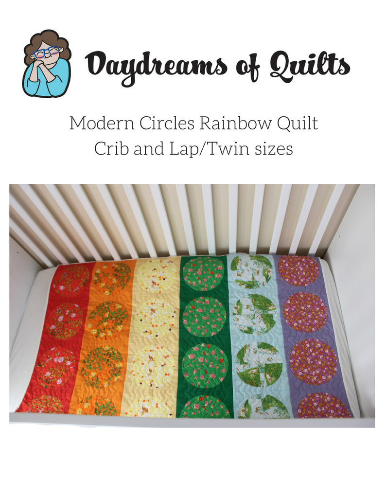 Modern Circles Rainbow Quilt in Crib and Lap/Twin Sizes
