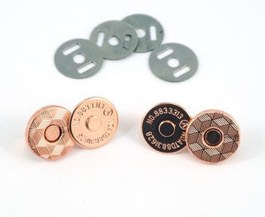 "Magnetic Snap Closures: 9/16"" (14 mm) Slim in Copper Finish (2 Pack)"