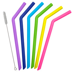 Silicone Straws - 6pk Assorted Colors with 2 Brushes | Fifty Fifty Bottles