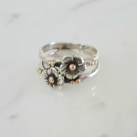 Lynda Salmon Designs ~ Entwined Double Flower Ring