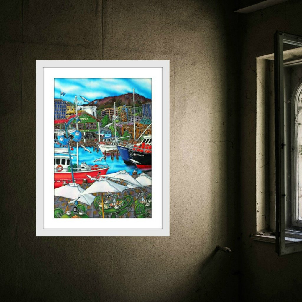 Esther Shohet Art Print 2 ~ 'Cafe at the Docks' - Aspect Design Tasmanian Gifts Gallery