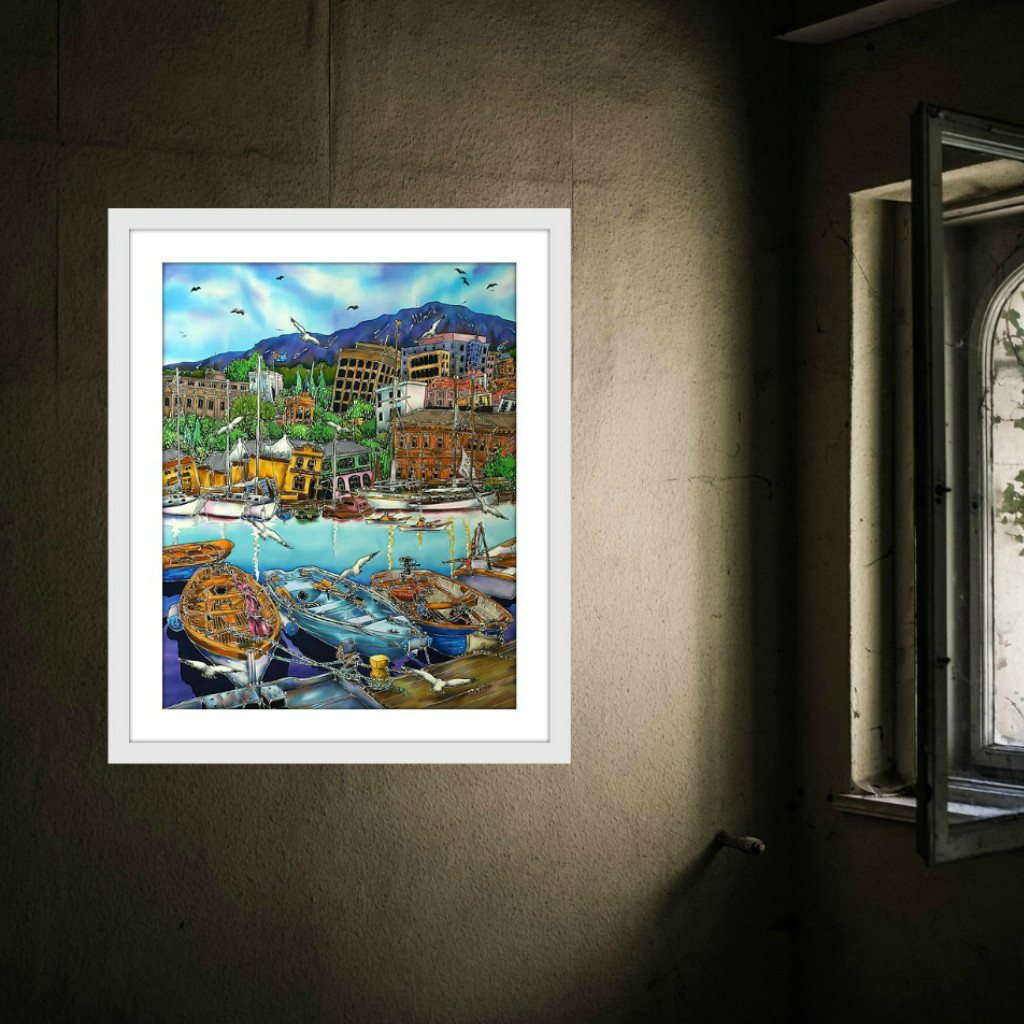 Esther Shohet Art Print 2 ~ 'Hobart and the Boats' - Aspect Design Tasmanian Gifts Gallery