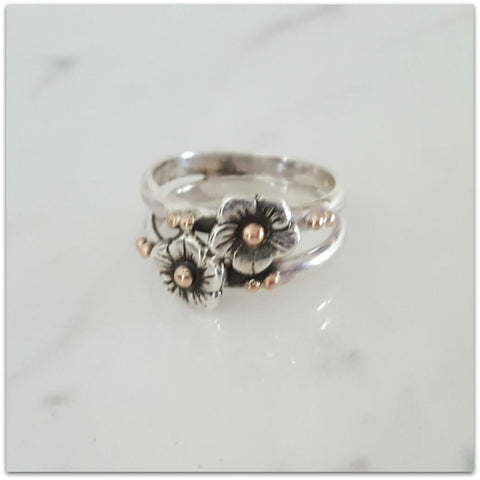Lynda Salmon Ring ~ Double Small Flower - Aspect Design