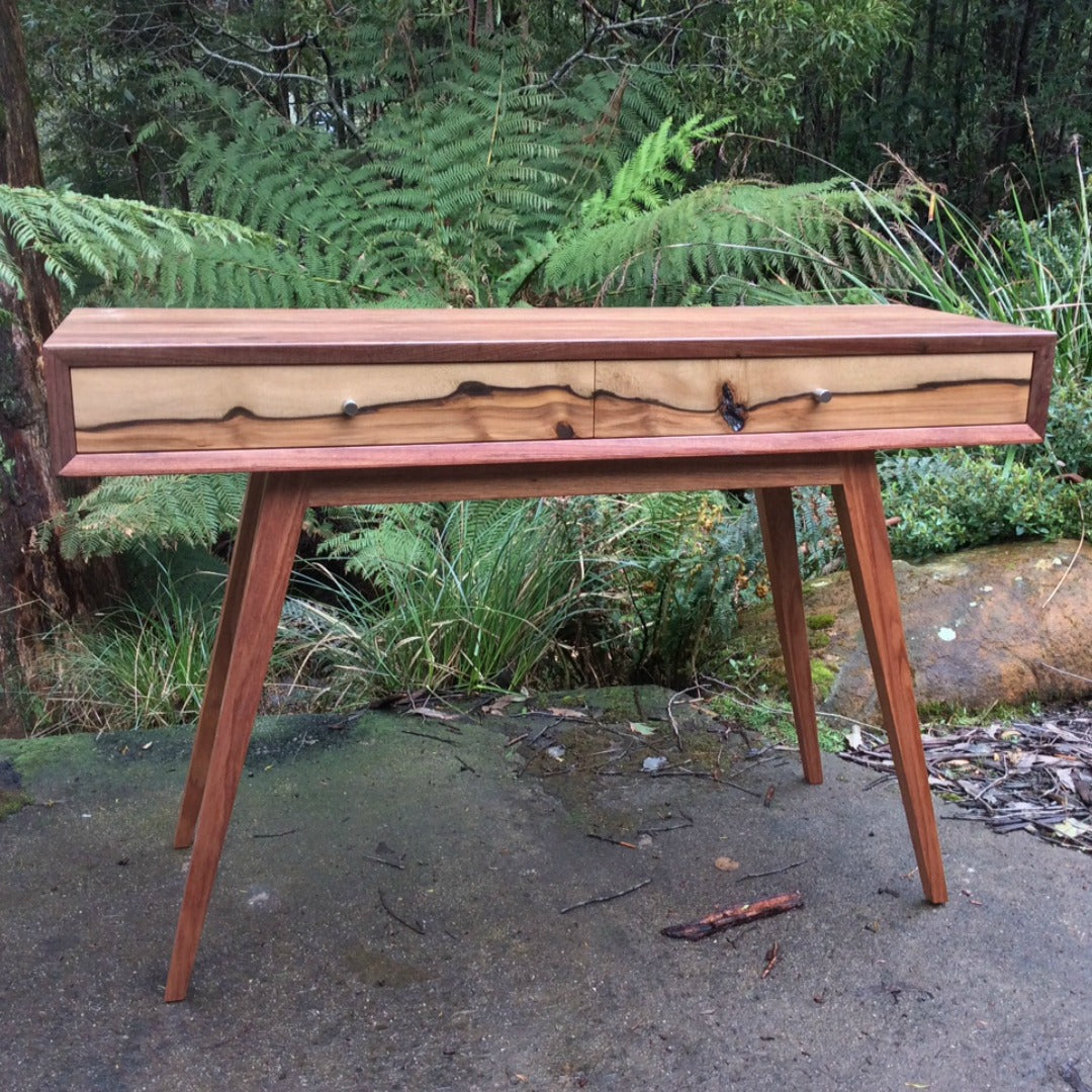 Tasmanian Furniture ~ Retro Box Hall Table in Tasmanian Blackwood & Sassafras