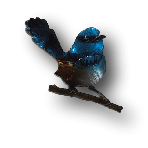 Copper Art Brooch ~ Blue Wren - Aspect Design Tasmanian Gifts Gallery