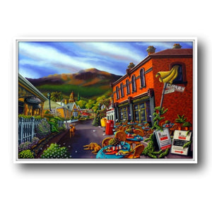 Esther Shohet Print on Canvas (Framed) - 'On the Corner of Hampden and Kelly'