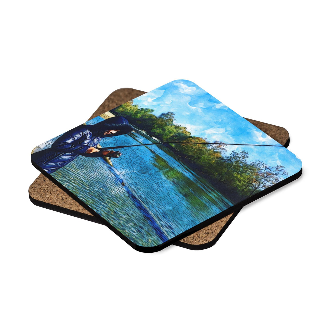 Levi Thang Fishing Design 23 Square Hardboard Coaster Set - 4pcs - I Am A Dreamer