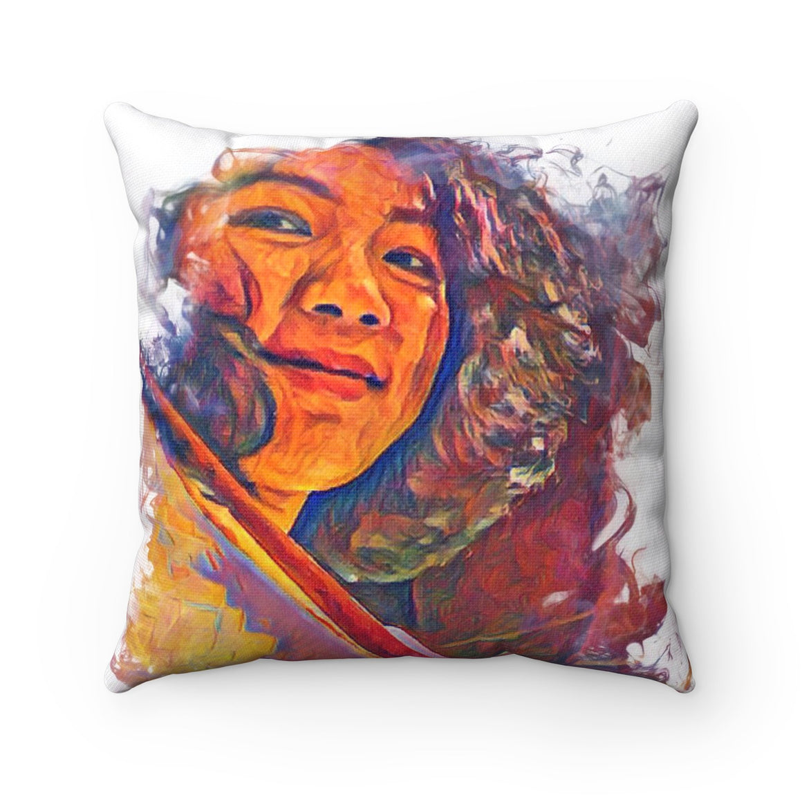 Levi Thang Vintage Face Design T Spun Polyester Square Pillow Case