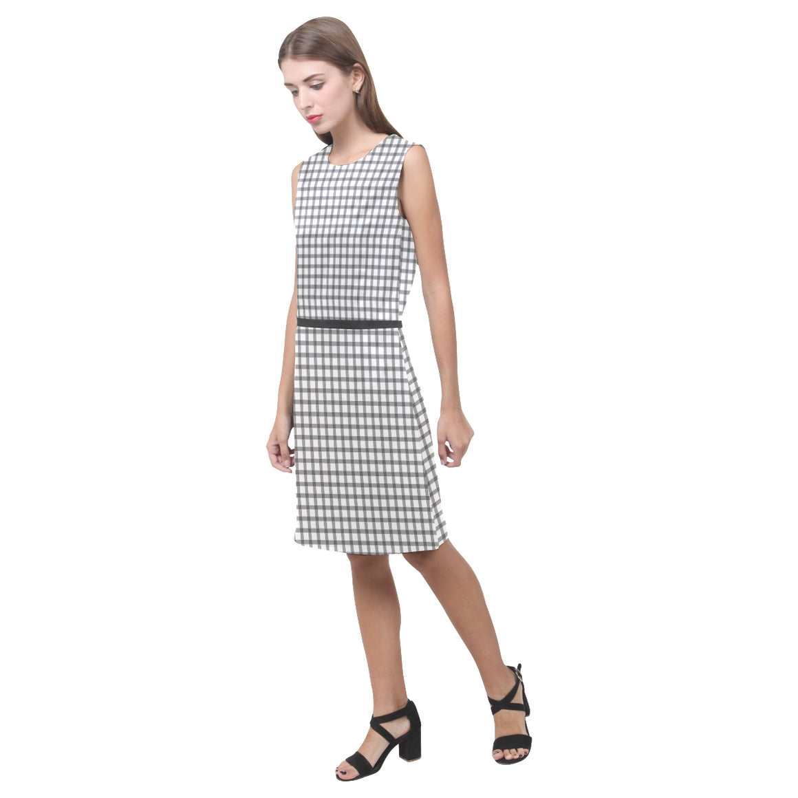 Mizo Black White Stripes Black Belt Eos Women's Sleeveless Dress - I Am A Dreamer