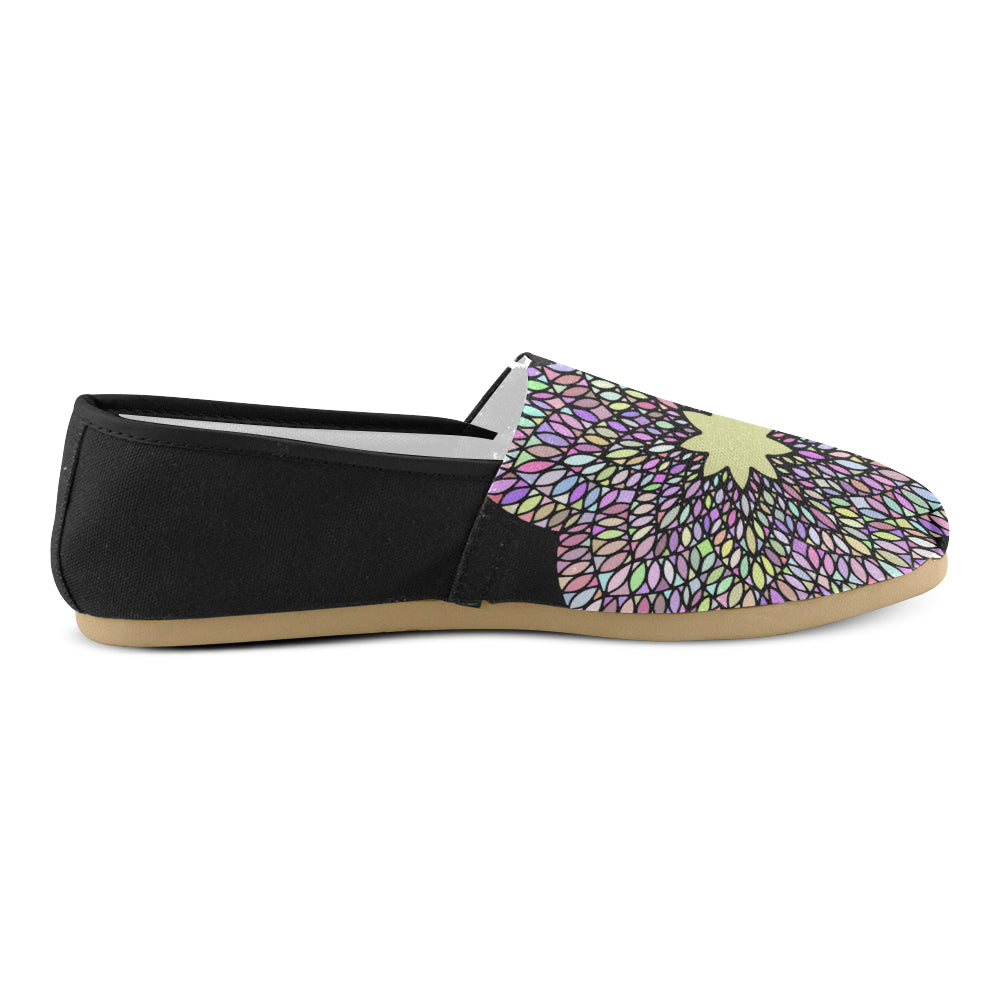 Purple Gold Floral Mandala Black Back Women's Casual Shoes - I Am A Dreamer