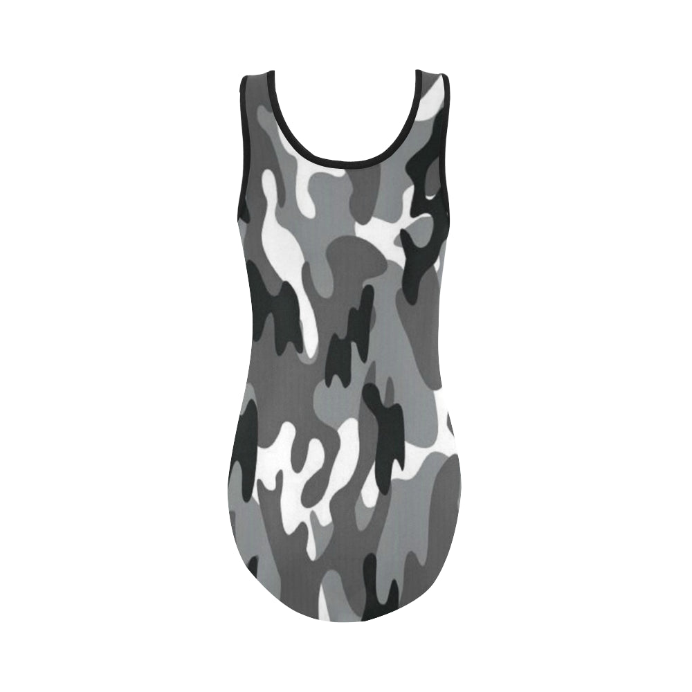 Camo Black White Dreamer Vest One Piece Swimsuit - I Am A Dreamer
