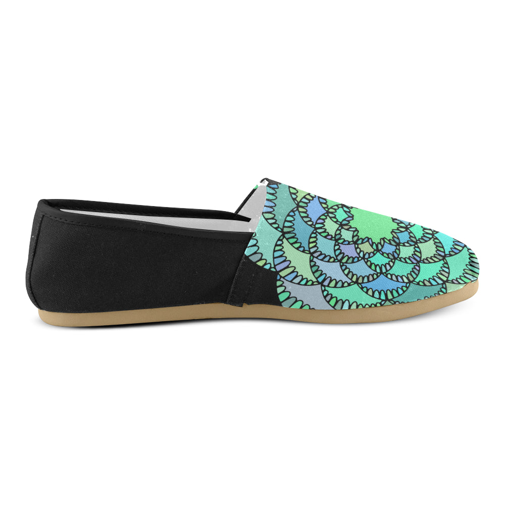 Green Colors Floral Mandalay Black Back Women's Casual Shoes - I Am A Dreamer