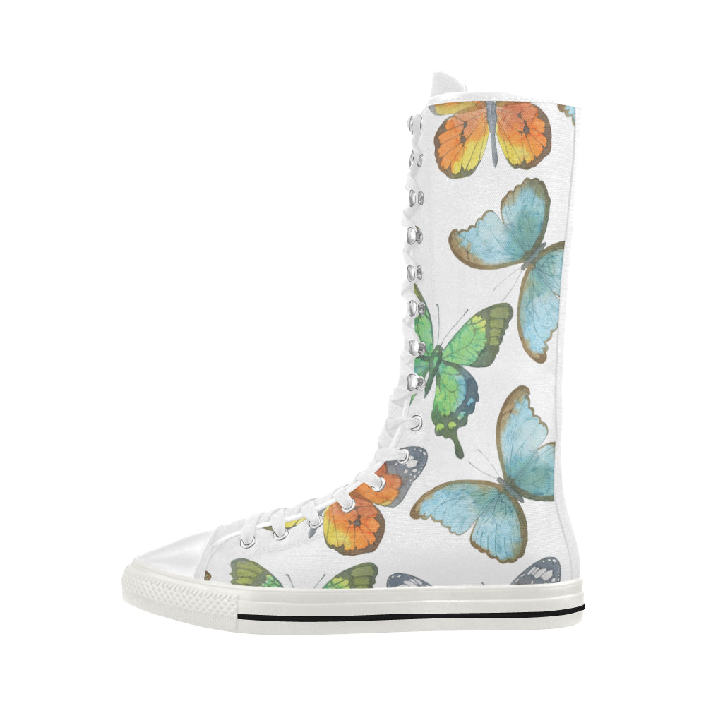 Butterflies White Background Canvas Long Boots For Women - I Am A Dreamer