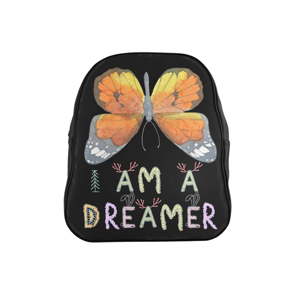 I Am A Dreamer Yellow Big Butterfly Children School Backpack
