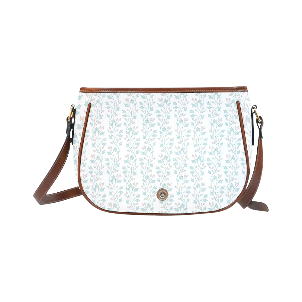 Elegant White Base Floral Theme Saddle Bag - I Am A Dreamer