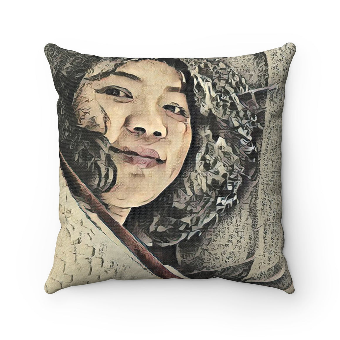 Levi Thang Vintage Face Design I Spun Polyester Square Pillow Case