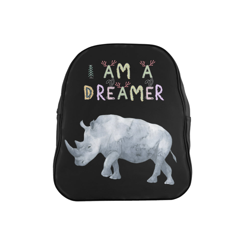 I Am A Dreamer Rhino Children School Backpack - I Am A Dreamer
