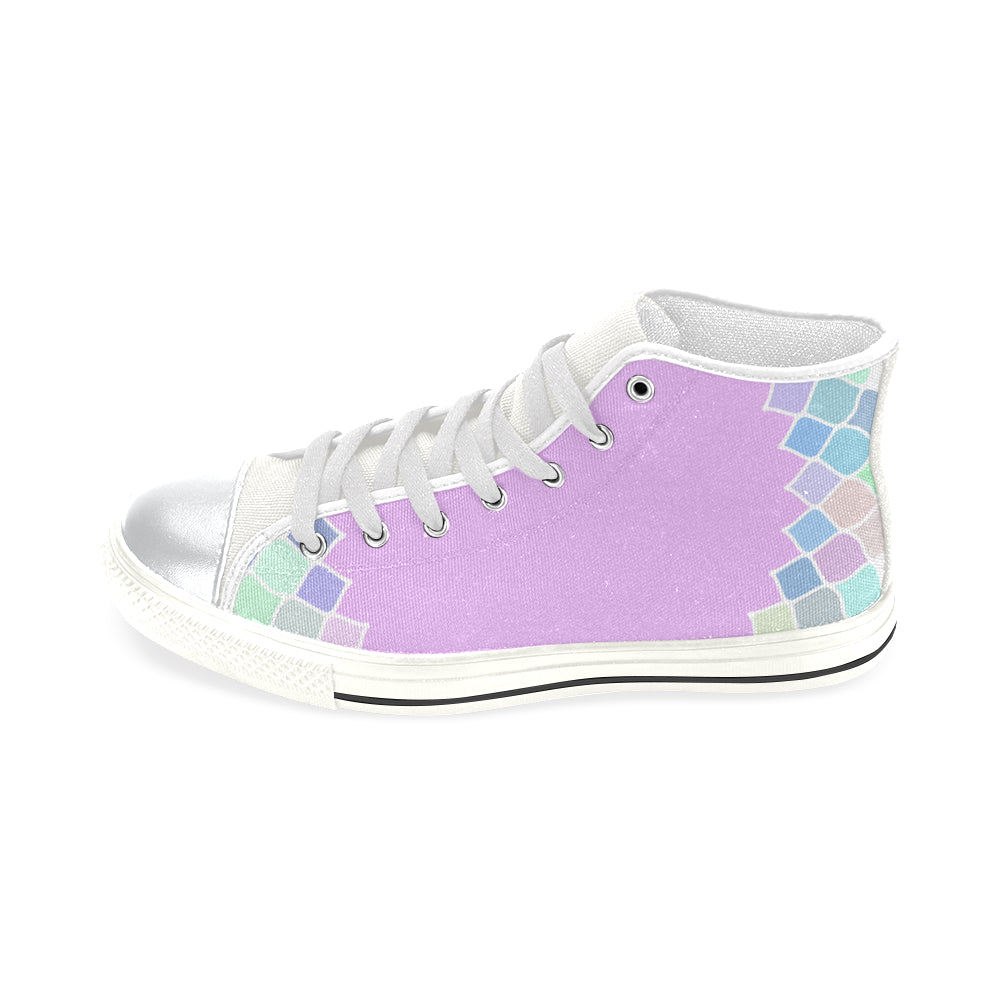 Purple Light Blue White Base High Top Canvas Women's Shoes/Large Size - I Am A Dreamer