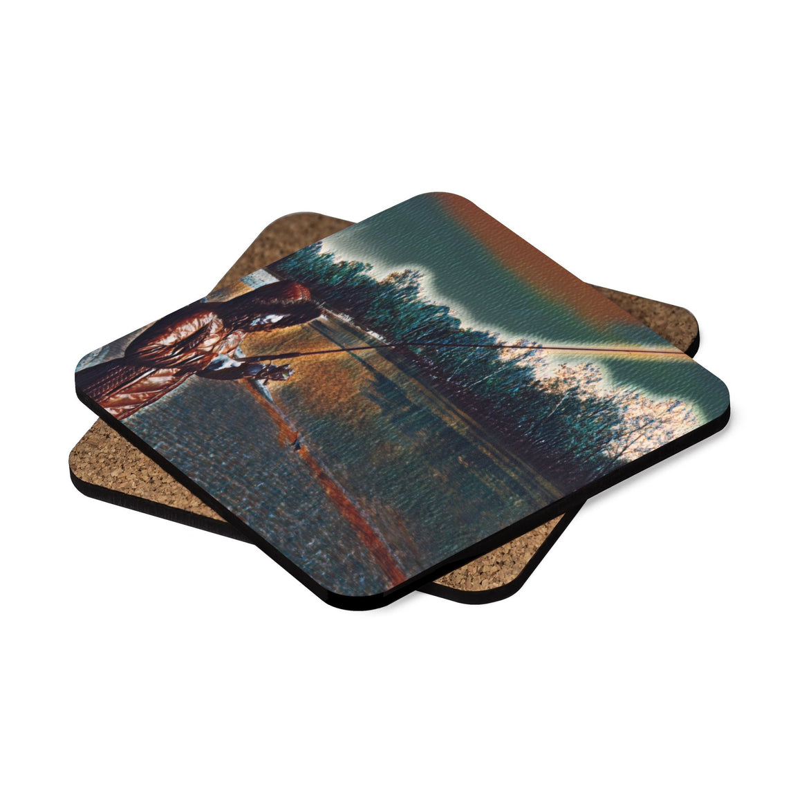Levi Thang Fishing Design 6 Square Hardboard Coaster Set - 4pcs - I Am A Dreamer