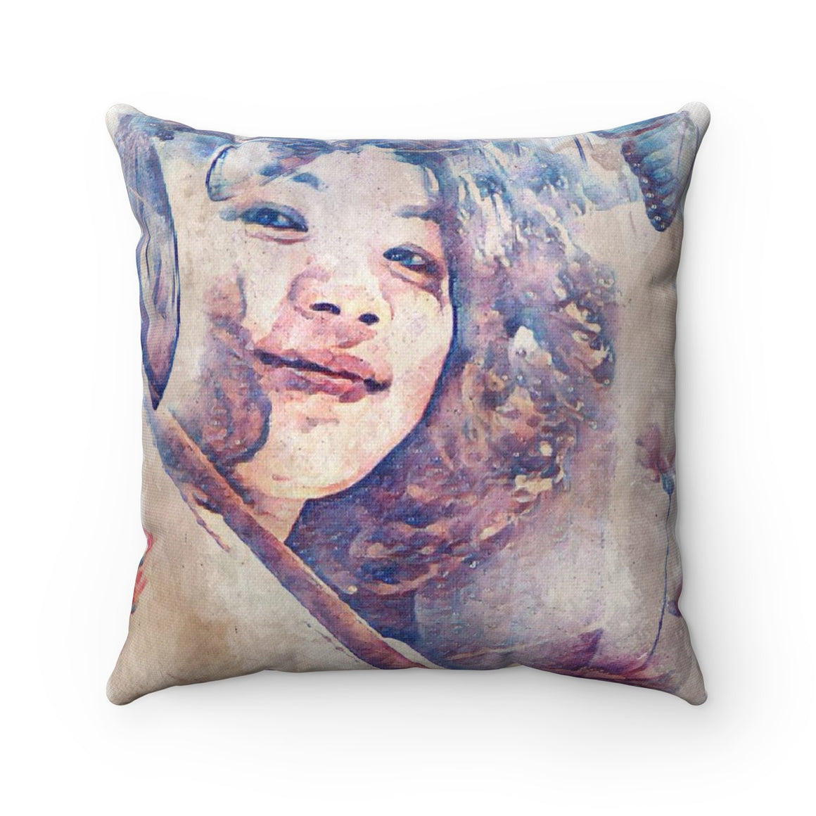 Levi Thang Vintage Face Design V Spun Polyester Square Pillow Case