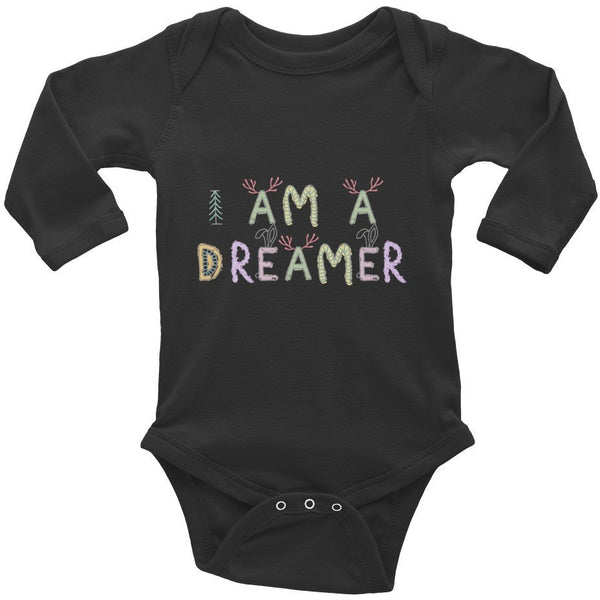 I Am A Dreamer Forest Infant Long Sleeve Baby Rib Bodysuit - I Am A Dreamer