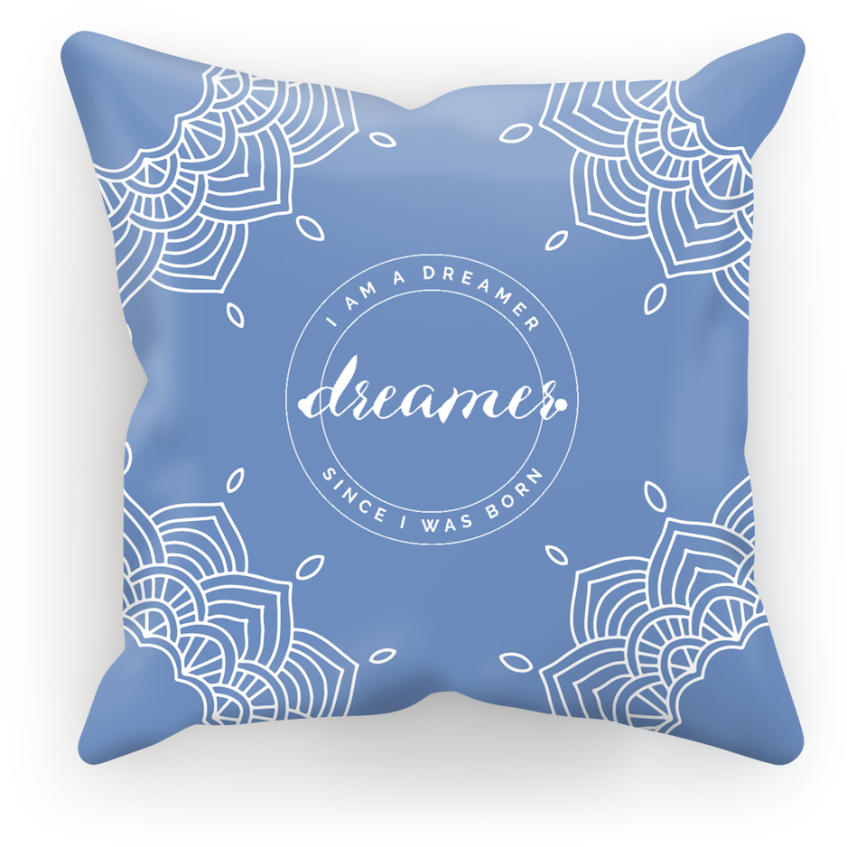 I Am A Dreamer Blue White Circle Throw Pillow - I Am A Dreamer