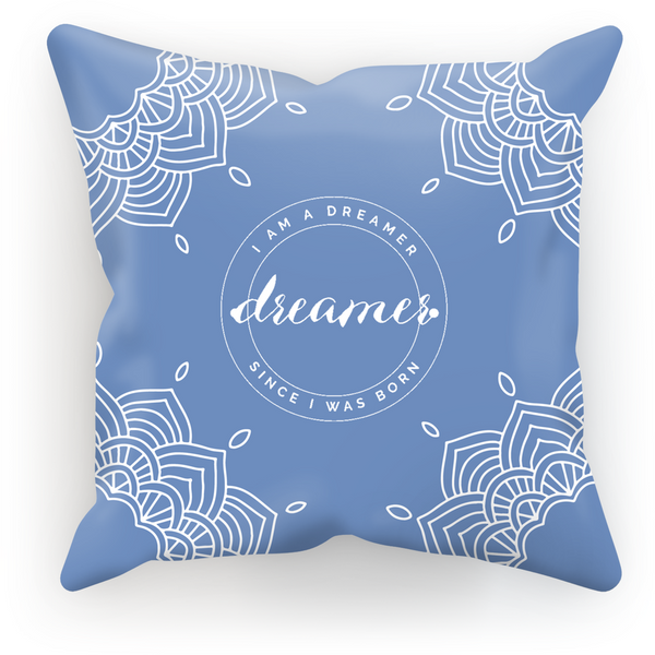 I Am A Dreamer Blue White Circle Throw Pillow