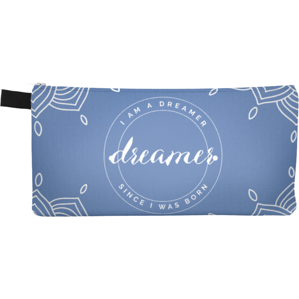 I Am A Dreamer Blue White Circle Pencil Case - I Am A Dreamer