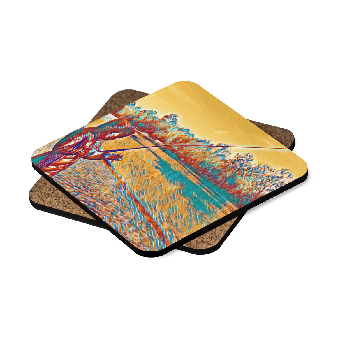 Levi Thang Fishing Design 4 Square Hardboard Coaster Set - 4pcs - I Am A Dreamer