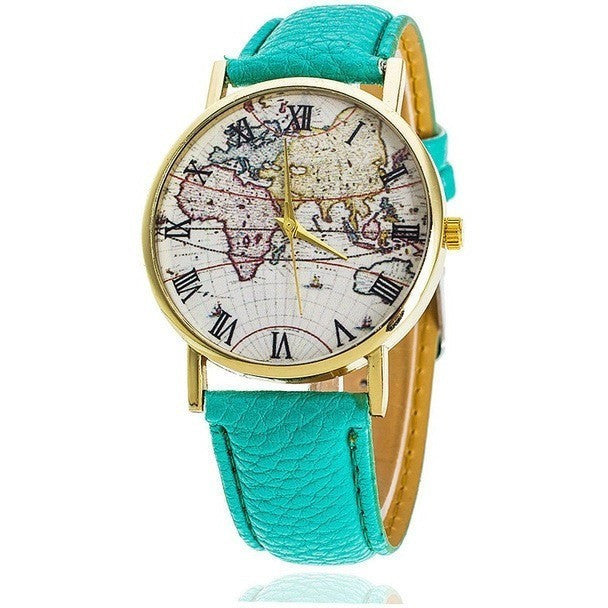 World Weather Map Fashion Leather Luxury Women Dress Watch - Levi Emmanuel