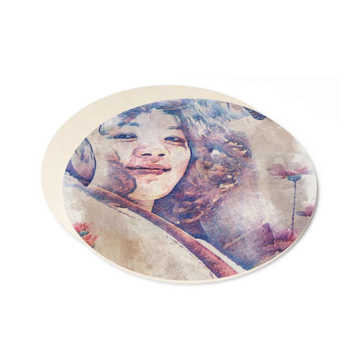 Levi Thang Vintage Face Design V Round Paper Coaster Set - 6pcs