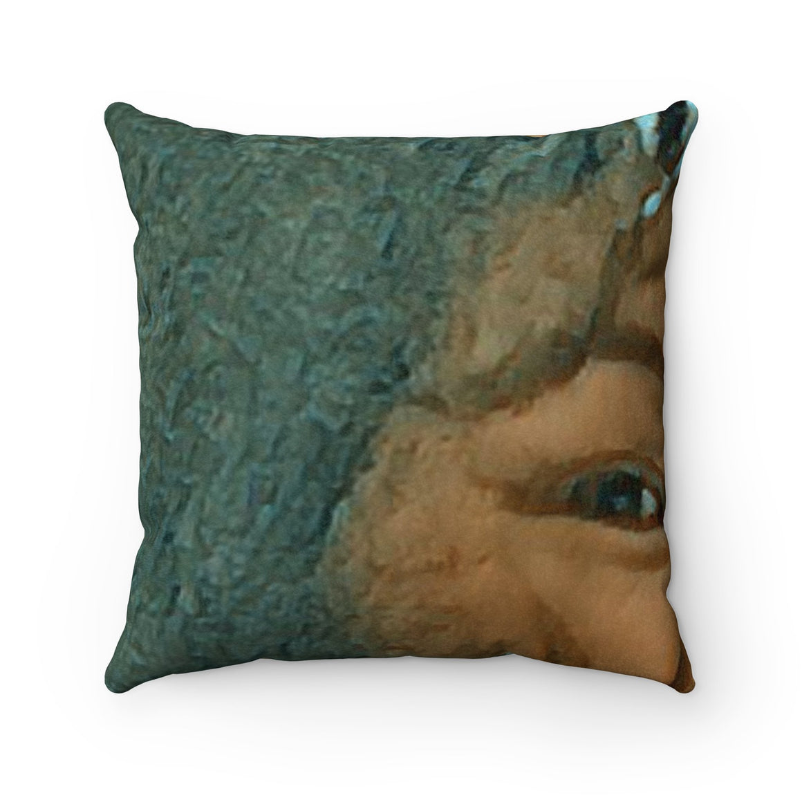 Levi Thang Vintage Face Design H Faux Suede Square Pillow Case