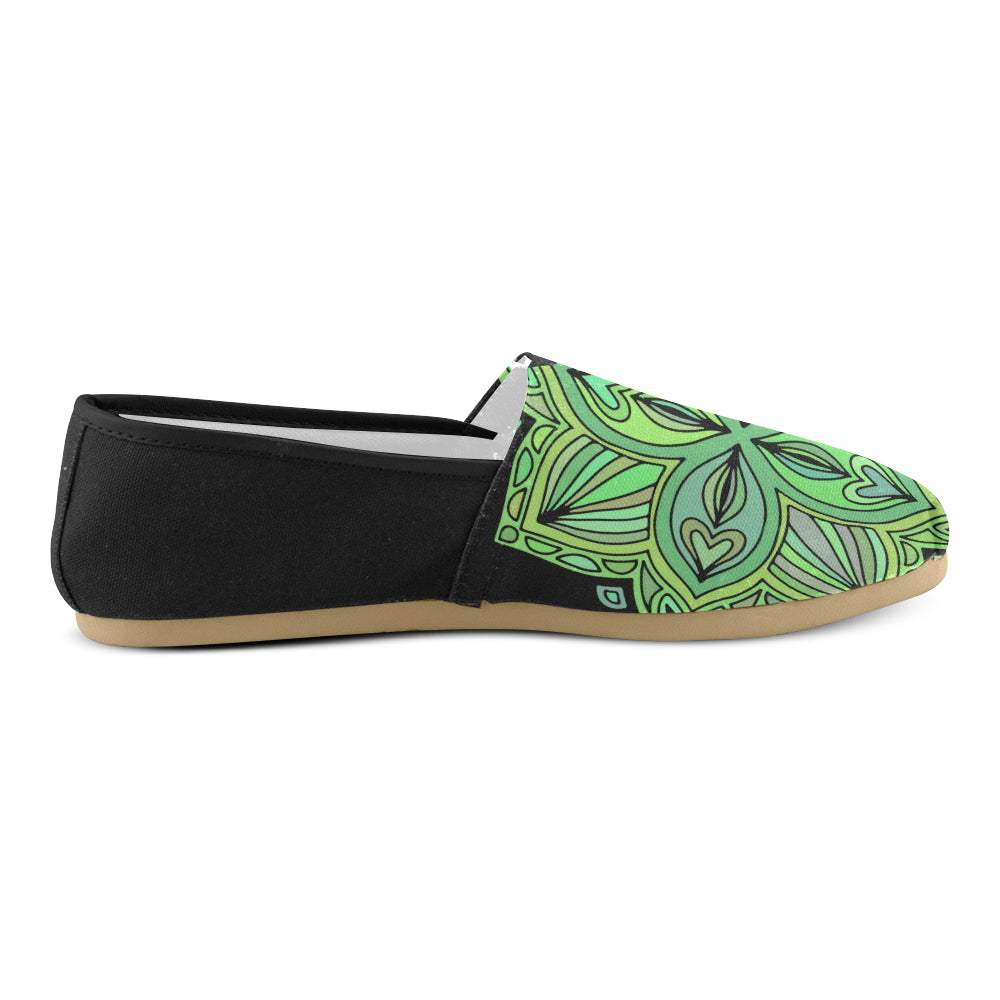 Green Floral Back Black Base Women's Casual Shoes - I Am A Dreamer