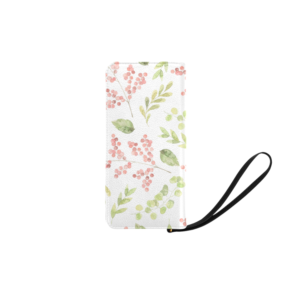 Dark Red Floral Green Leaves White Base Women's Clutch Purse - I Am A Dreamer