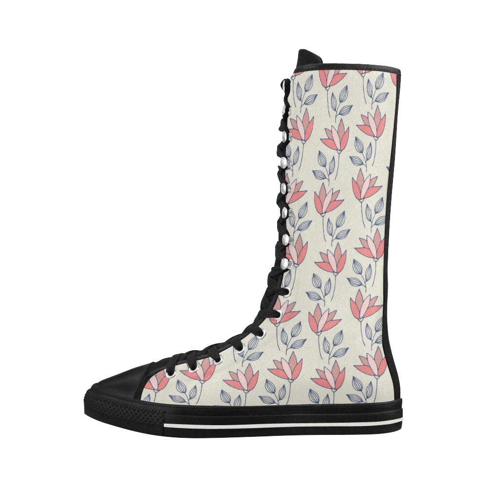 Vintage Fashion Floral Theme Black Red Canvas Long Boots For Women - I Am A Dreamer