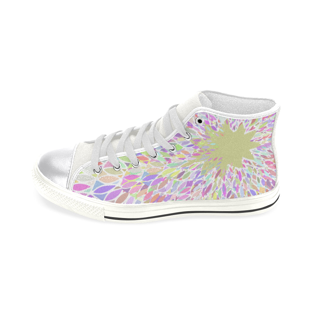 Colorful Mandala White Base Women's Classic High Top Canvas Shoes - I Am A Dreamer