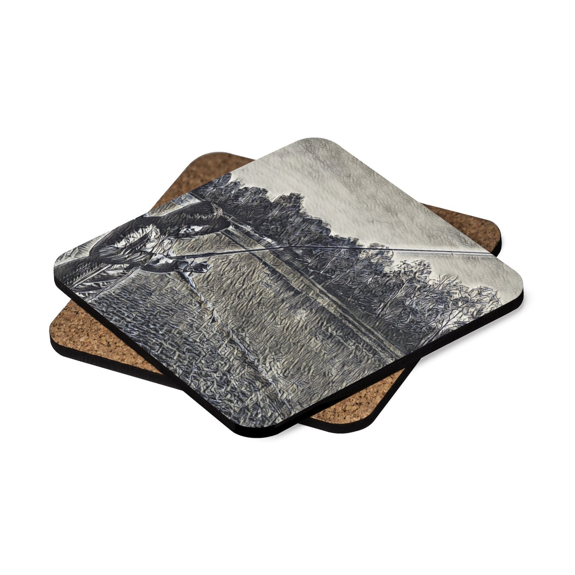 Levi Thang Fishing Design 14 Square Hardboard Coaster Set - 4pcs - I Am A Dreamer