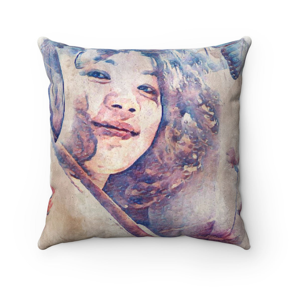 Levi Thang Vintage Face Design V Faux Suede Square Pillow Case