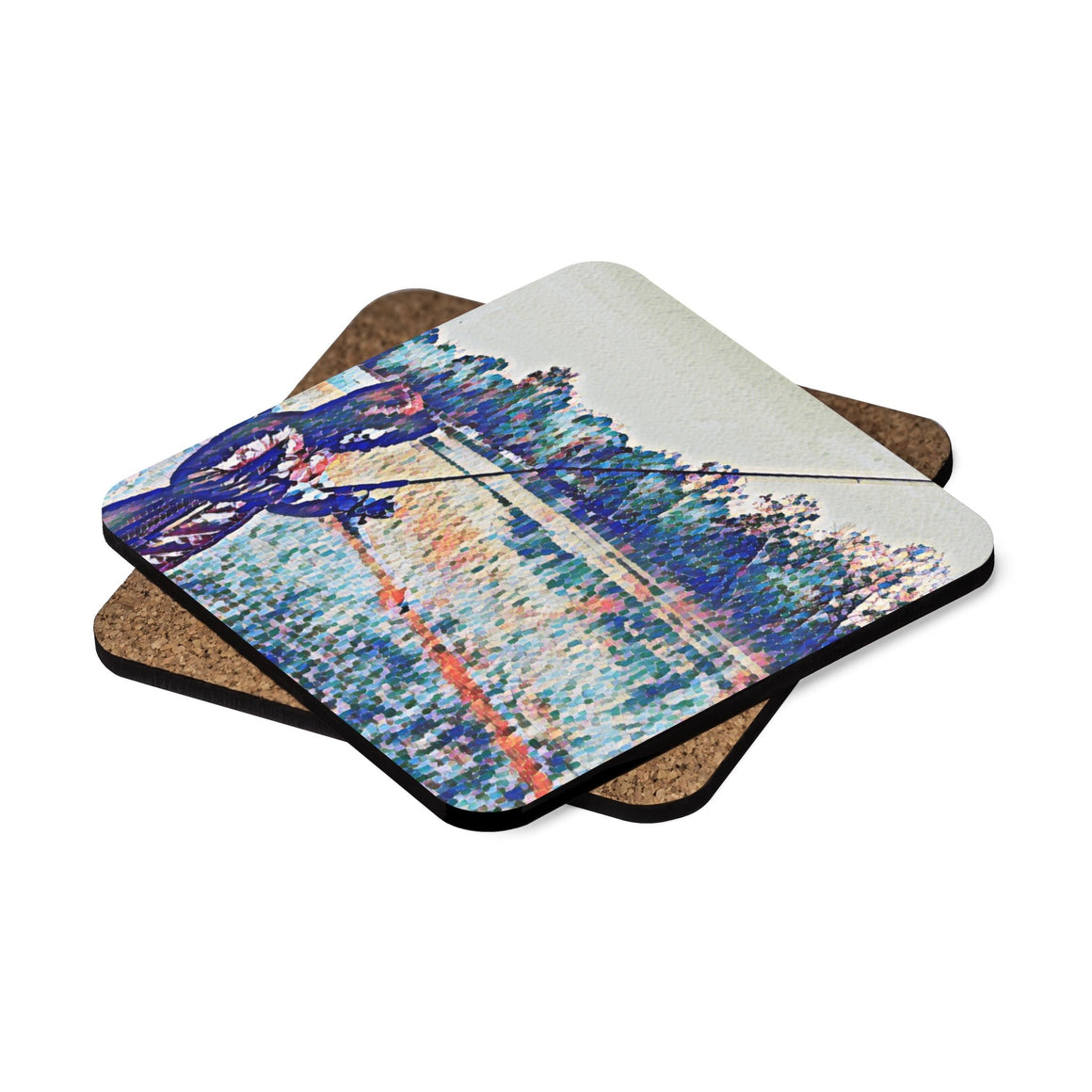 Levi Thang Fishing Design 1 Square Hardboard Coaster Set - 4pcs - I Am A Dreamer